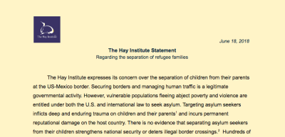 The Hay Institute Statement Regarding Separation of Refugee Families